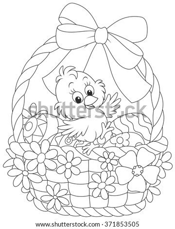 Easter Chick in a basket with painted eggs, decorated with a bow and flowers