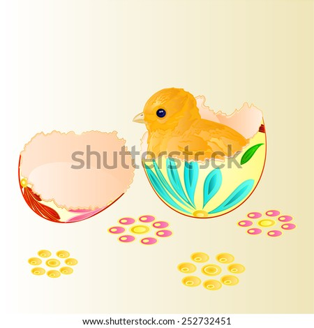 Easter chicken hatched from Easter eggs vector  easter backgrounds illustration - stock vector