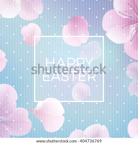 """easter christian floral background with text """"Happy Easter"""", vector illustration, eps 10 with transparency and gradient mesh Modern style vector soft spring illustration background - stock vector"""