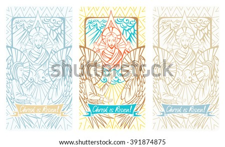 "Easter christian greeting card with Resurrection of Christ, angels and lettering ""Christ is Risen!"". Vector illustration. - stock vector"
