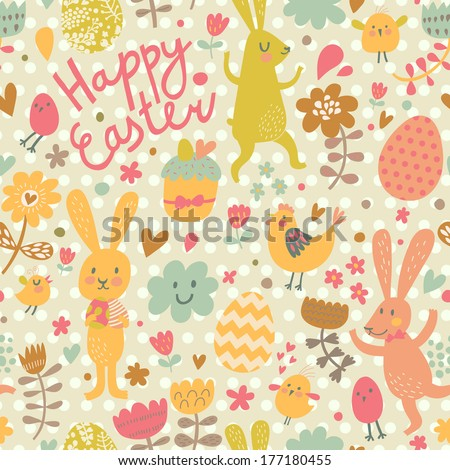 Easter concept seamless pattern. Cute rabbits and chicken in flowers. Seamless pattern