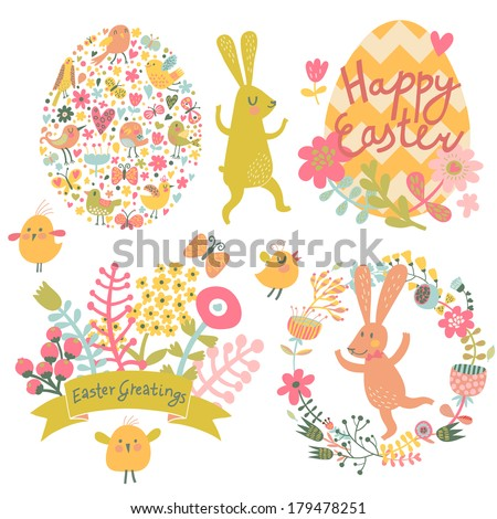 Easter concept set in vector. Bright holiday elements and signs in cartoon style: egg made of hearts and flowers, rabbits, chicken, butterflies. Four cute holiday cards