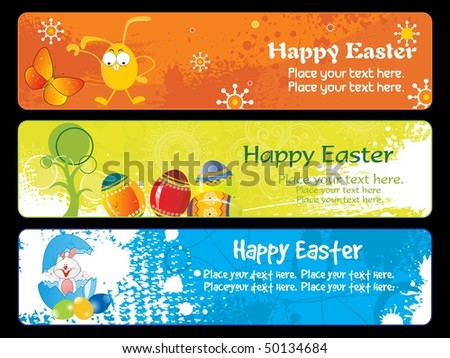 easter day banner with place for text - stock vector