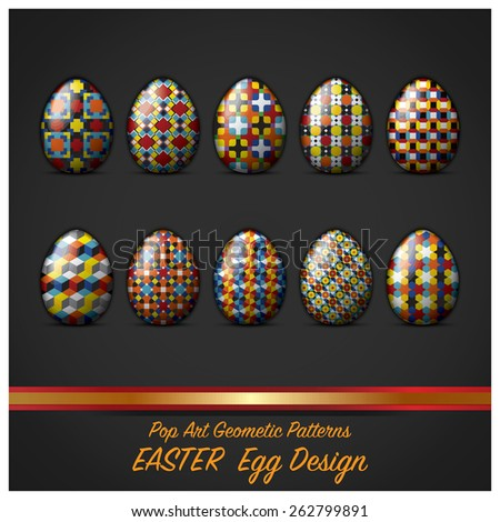 Easter Day Egg With Pop Art Geometric Pattern Style Vector Design