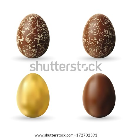 Easter decorated chocolate and golden eggs, vector design - stock vector