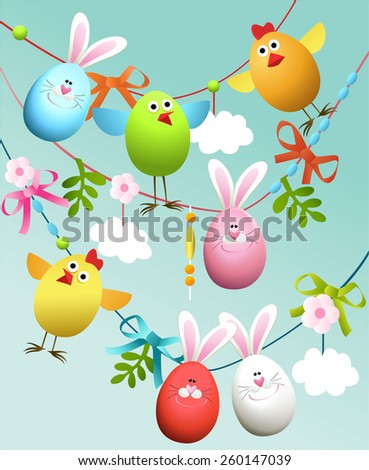 Easter decoration - stock vector