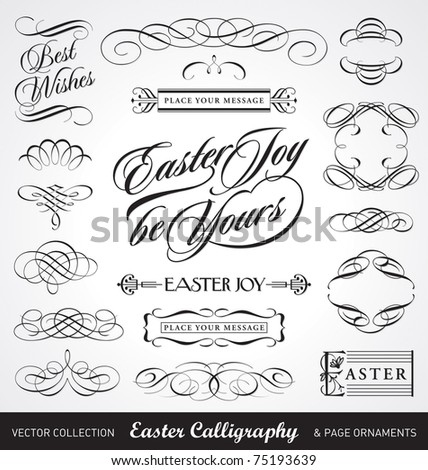 easter decoration set, useful calligraphic vector elements;