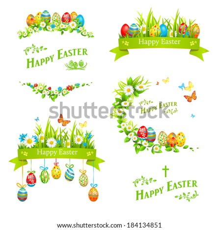 Easter design elements set. Holiday floral decorations with color eggs - stock vector