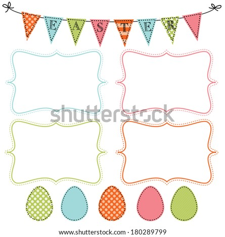 Easter design template with four 4x6 frames for your events, scrapbooking or invitation designs vector format, transparent background - stock vector