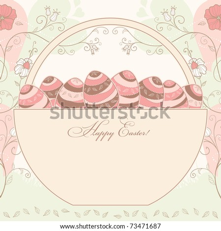 easter design with a basket full of eggs with a place for your text message, vector - stock vector