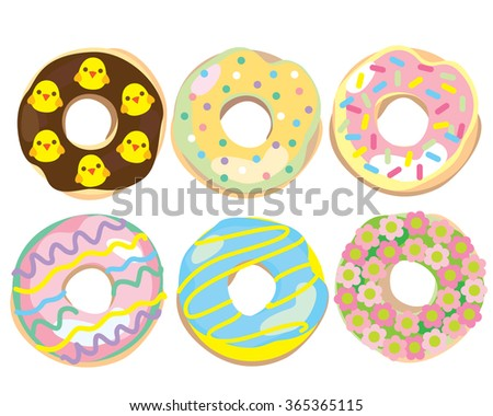 Easter Donuts with Decorated with Sprinkles and Holiday Icing - stock vector