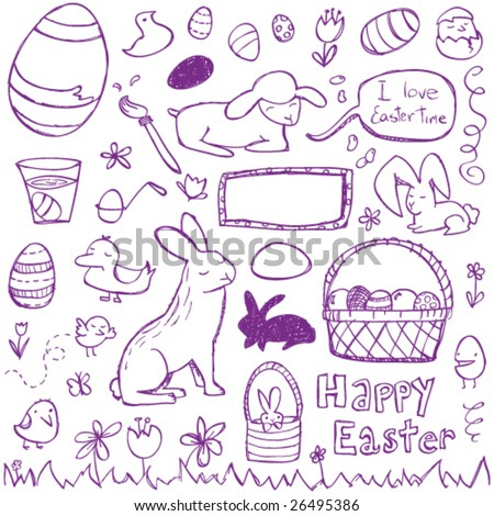 Easter Doodles - stock vector