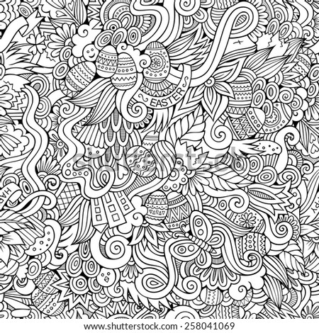 Easter doodles vector seamless pattern - stock vector