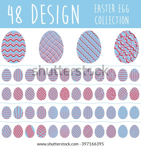 Easter egg collection with 48 different design in blue and red color isolated on white background. Set of easter eggs.