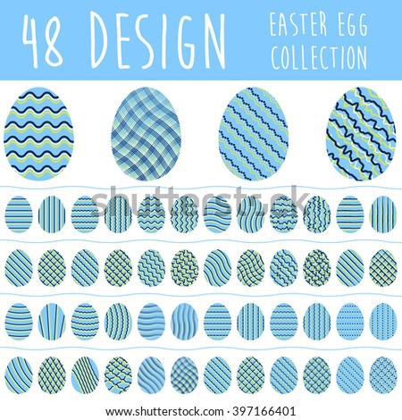 Easter egg collection with 48 different design in blue color isolated on white background. Set of easter eggs.
