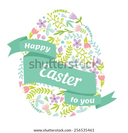Easter Egg decorated with different floral elements. Ribbon with Happy Easter lettering on pattern. Vector illustration. - stock vector