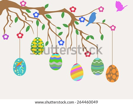easter egg hanging on tree and birds flowers card - stock vector
