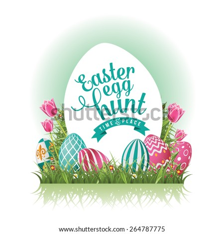 Easter Egg Hunt Background With Grass And Tulips EPS 10 Vector Royalty Free Stock Illustration For