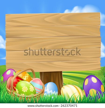 Easter Egg Hunt Cartoon Sign with a basket of Easter eggs in rolling green hills - stock vector