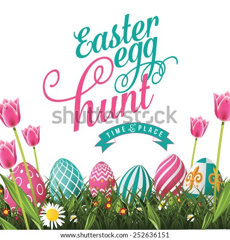 Easter egg hunt isolated with white background. EPS 10 vector royalty free stock illustration for greeting card, ad, poster, flier, blog, article - stock vector