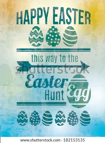 Easter egg hunt sign - stock vector