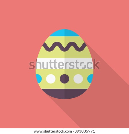 Easter egg icon , Vector flat long shadow design.