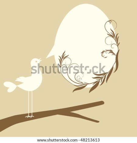 Easter egg in speech bubble shape with floral elements and bird