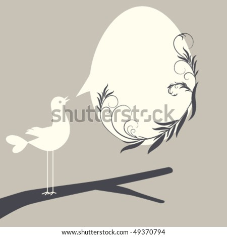 Easter egg in speech bubble shape with floral elements and bird - stock vector