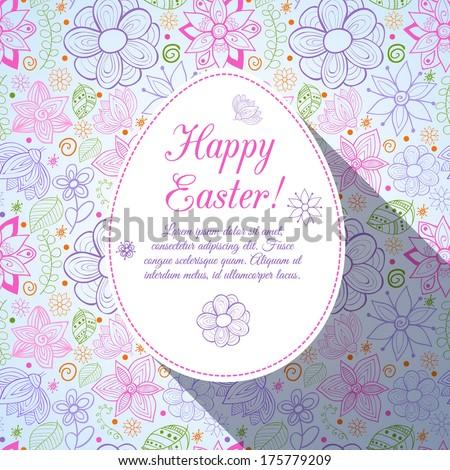 Easter egg on flowers background. Doodles ornament easter egg background - stock vector