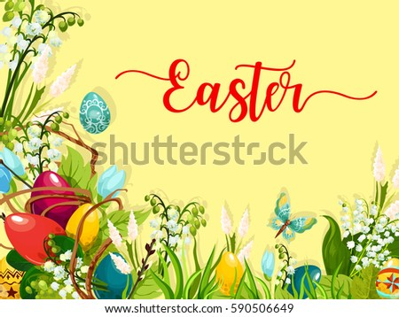 Easter egg on green grass cartoon greeting card. Colored Easter eggs on grass with blooming spring flowers and lily of the valley inflorescence, willow twig and butterfly. Easter holiday themes design