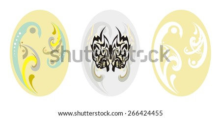 Easter Egg tribal set - stock vector
