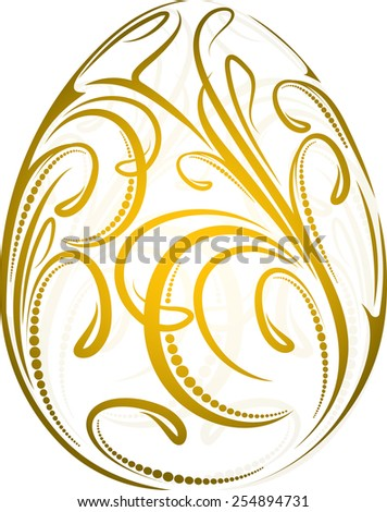 Easter egg with a gold floral pattern - stock vector