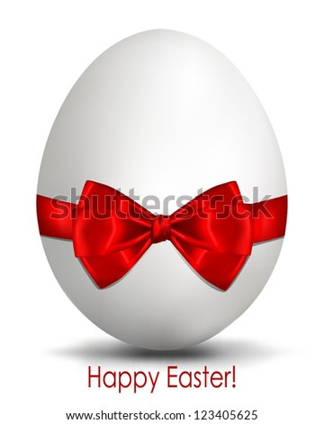 Easter egg with bow. Easter greetings card with egg and red ribbon. Vector image. Happy Easter - stock vector