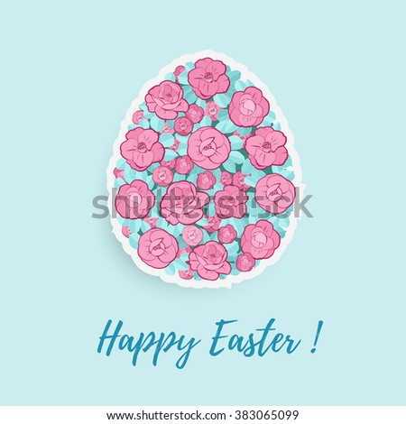 Easter Egg With Floral Ornament - stock vector