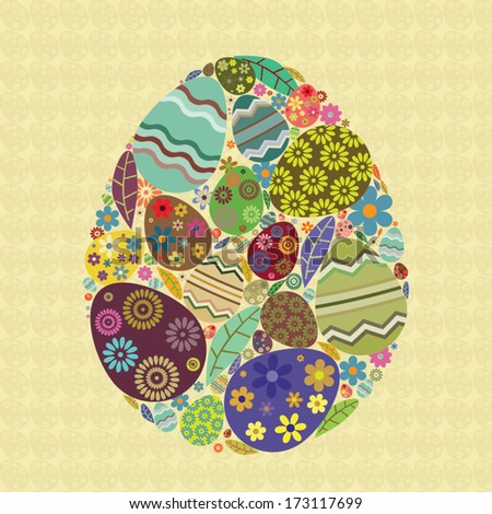 Easter egg with smaller eggs and other graphic elements inside isolated on easter eggs pattern - stock vector