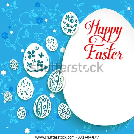 Easter eggs background for design card, banner,ticket, leaflet and so on.Template page with handwritten inscription Happy Easter. Holiday card. - stock vector