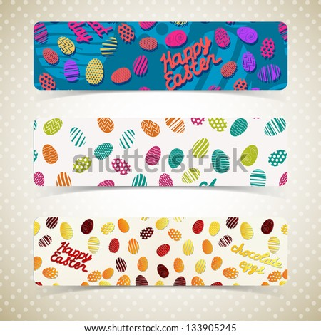 Easter eggs banners set. Vector Illustration, eps 10, contains transparencies. - stock vector