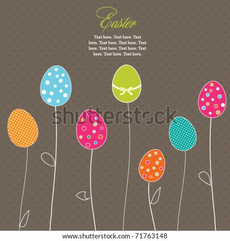 Easter eggs-flowers card with  polka dot background - stock vector