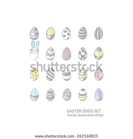 Easter eggs hand drawn set. Pastel colors. Grunge style. Use for website, greeting card or presentation decoration. Vector illustration EPS10. - stock vector