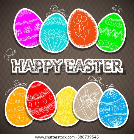Easter eggs - Happy Easter wish card. Spring vector illustration.