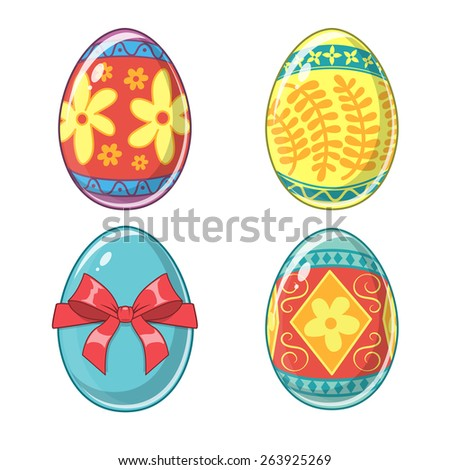 Easter eggs holiday collection. Set of traditional design elements isolated on white. Eps 10 vector illustration. - stock vector