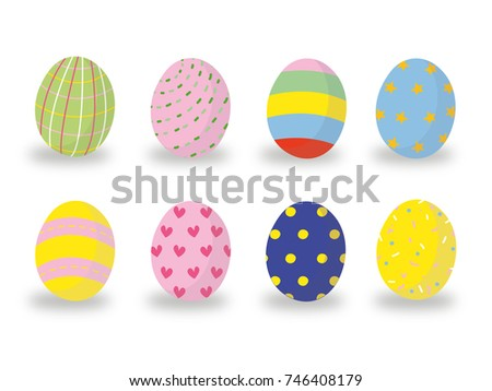 Easter eggs icons. Vector illustration.Easter holidays design on white background. Easter eggs with different texture