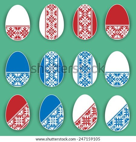 Easter eggs in a flat performance in the folk style - stock vector