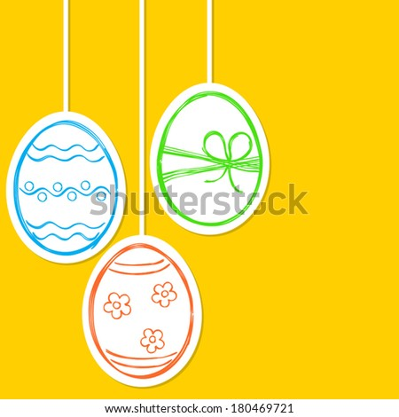Easter eggs in doodle style - stock vector