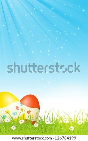 easter eggs in green grass, with blue sky and sun rays, with text, easter greeting card, vector illustration, with transparency, eps 10