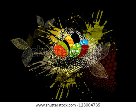 Easter eggs in the nest - stock vector