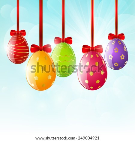 Easter eggs on sunny background
