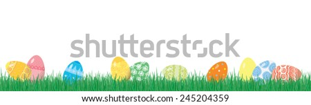 Easter eggs on the grass on a white background, horizontal seamless background - stock vector