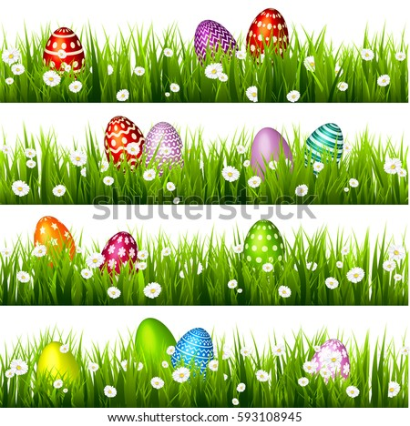 Easter Eggs On The Green Grass Seasonal Holidays In April Colorful Egg And Flowers