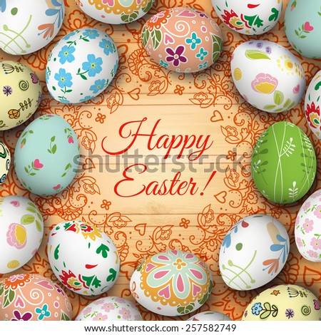 Easter eggs on the wooden table. Vector. Holiday background - stock vector